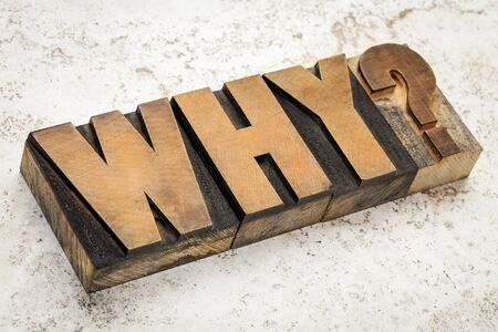 prinitng block: why question in vintage letterpress wood type on a ceramic tile background