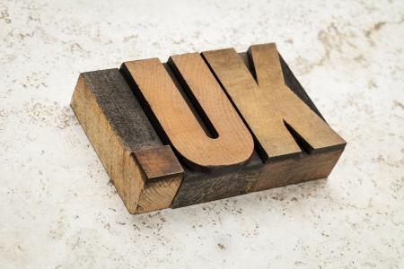 dot uk - internet domain for United Kingdom in vintage wooden letterpress printing blocks on ceramic tile background