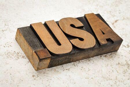 fictitious: dot USA - internet concept - fictitious  domain address  not  us  - letterpress wood type on ceramic tile background Stock Photo
