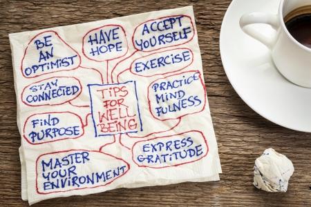 mindfulness: tips voor het welzijn - een servet doodle met een kopje koffie Stockfoto