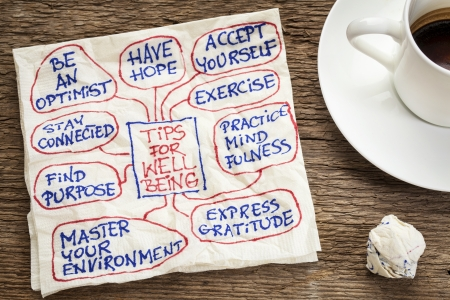 tips voor het welzijn - een servet doodle met een kopje koffie