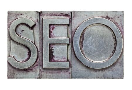 SEO (search engine optimization) acronym - isolated text in vintage letterpress metal type photo