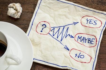 esitazione: s�, no, forse - esitazione o concetto decisione - doodle tovagliolo con una tazza di caff�