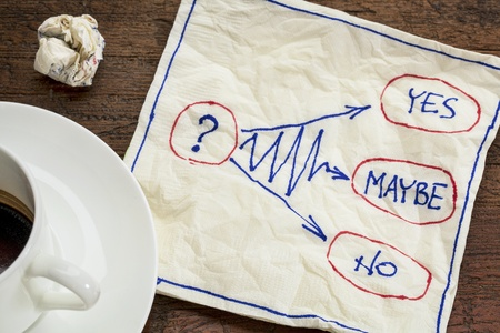 maybe: yes, no, maybe - hesitation or decision concept - napkin doodle with a cup of coffee