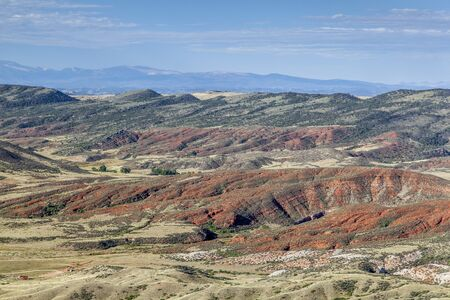 rugged terrain: rugged terrain with cliffs and cnyon in Red Mountain Open Space in northern Colorado near Fort Collins Stock Photo