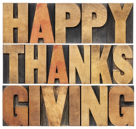 thanksgiving greeting: Happy Thanksgiving  - isolated text in vintage letterpress wood type blocks scaled to a rectangle shape