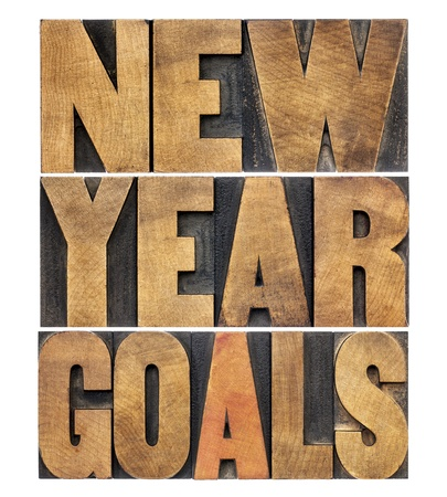 personal development: New Year goals - resolution concept - isolated text in letterpress wood type