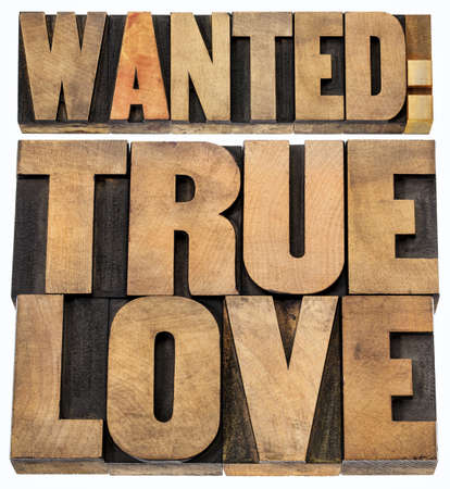 true love: wanted true love - romance concept -isolated text in letterpress wood type blocks
