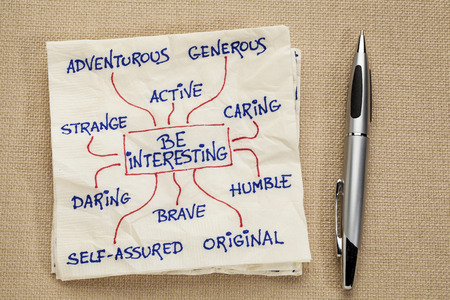 how to be interesting - a motivational doodle on a napkin Stock Photo - 22443349