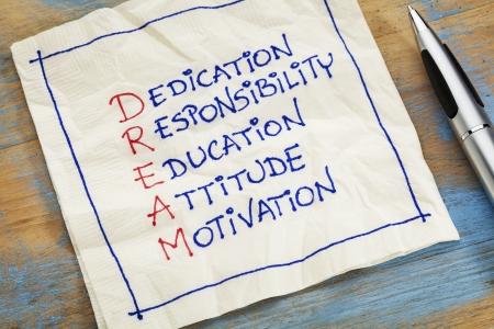dedication, responsibility, education, attitude, motivation - DREAM acronym - a napkin doodle Stock Photo - 22443362