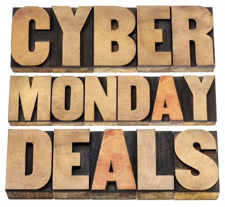Cyber Monday deals - online shopping and marketing concept - isolated text in letterpress wood type blocks Stock Photo - 22443368