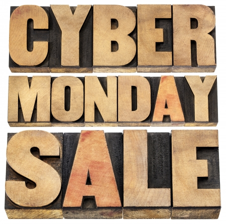 Cyber Monday sale - online shopping and marketing concept - isolated text in letterpress wood type blocks photo