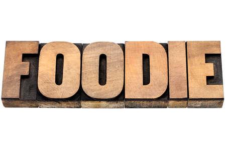 connaisseur: foodie parola - testo isolato in tipografica tipo di legno