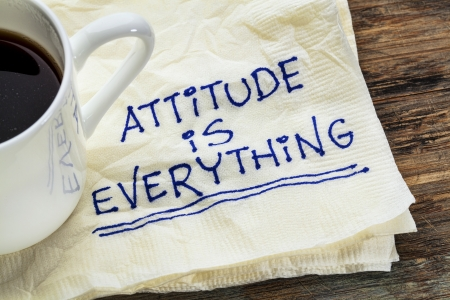 attitude is everything - motivational slogan on a napkin with a cup of coffee Stock Photo - 22443406