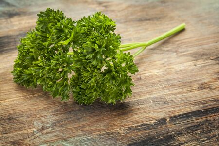 a fresh leaves  of curled leaf parsley on wood surface Stock Photo - 22443409
