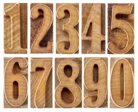 letterpress blocks: a set of isolated ten numbers from zero to nine in letterpress wood type printing blocks