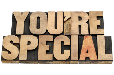 you are special  compliment - isolated text in letterpress wood type Stock Photo - 22443413