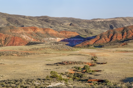 arroyo and rugged terrain in Red Mountain Open Space in northern Colorado near Fort Collins Stock Photo - 22443415