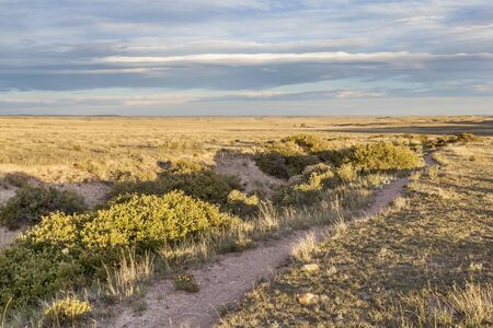 soapstone: hiking trail and arroyo in Colorado prairie - Soapstone Prairie Natural Area near Fort Collins - fall scenery