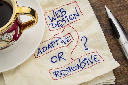 適応または応答性の高い web デザインを選択 - エスプレッソのコーヒーのカップとナプキン落書き 写真素材