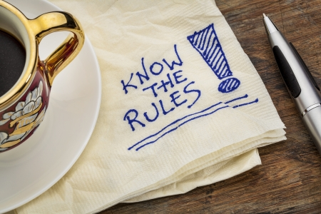 know the rules  reminder - a napkin doodle with a cup of espresso coffee