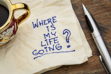 white napkin: where is my life going - an essential question or searching for purpose  - a napkin doodle with a cup of espresso coffee Stock Photo