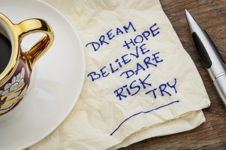dream, hope, believe, dare, risk, try - motivational words - a napkin doodle with a cup of espresso coffee