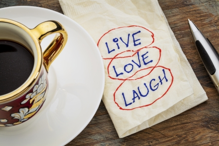live, love, laugh - motivational words - a napkin doodle with a cup of espresso coffee Stock Photo - 22867687