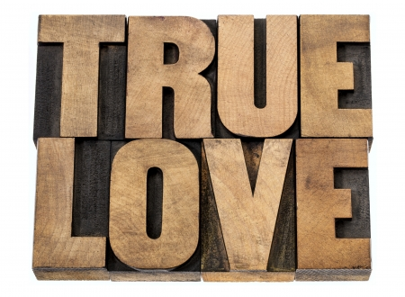 true love - romance concept -isolated text in letterpress wood type blocks Stock Photo - 22867708