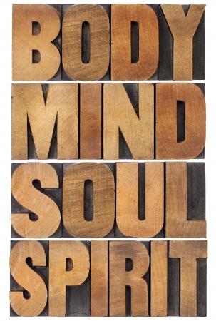 mind body soul: corpo, mente, anima e spirito tipografia - un collage di parole isolate in legno di tipo vintage tipografica scalata a un rettangolo