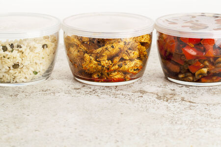 leftover: stir fry dinner meal or leftovers stored in glass containers