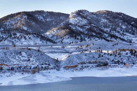 horsetooth rock: Arthurs Rock in Lory State Park and Horsetooth Reservoir near Fort Collins, Colorado, winter scenery