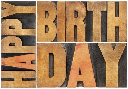 auguri di buon compleanno: buon compleanno - isolato astratto testo - tipografica in legno blocchi stampa tipo scalare di un rettangolo