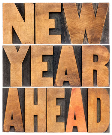 scaled: new year ahead - isolated text abstract - letterpress wood type printing blocks scaled to a rectangle