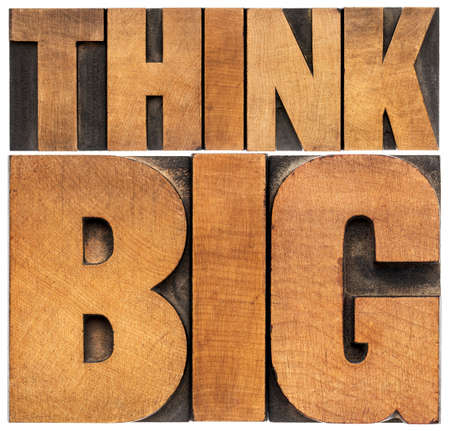 think big motivational phrase -  isolated text abstract - letterpress wood type printing blocks scaled to a rectangle photo