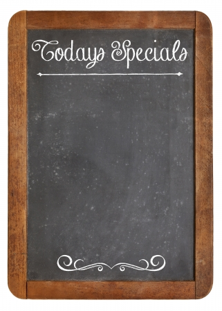menu: Today Specials - white chalk menu sign on a vintage slate blackboard isolated on white Stock Photo