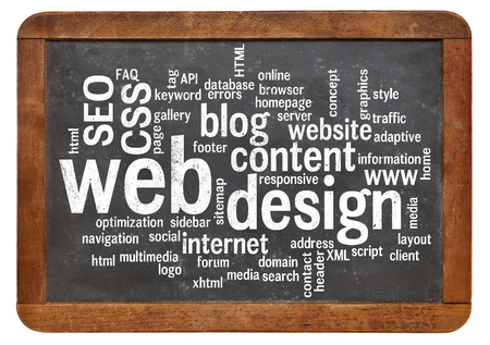 web template: cloud of words or tags related to web or website design on a  vintage slate blackboard isolated on white