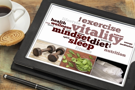 vitality or vital energy concept on a  digital tablet, a collage of pictures and word cloud photo