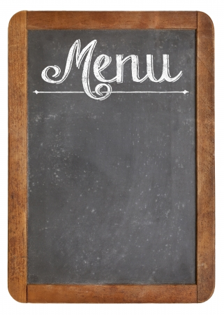 vintage slate blackboard in wood frame  with white chalk smudges used a restaurant menu