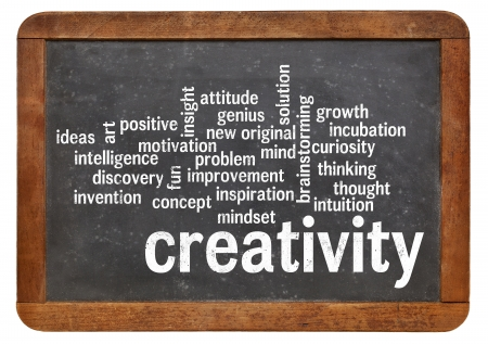 creativity: cloud of words or tags related to creativity on a  vintage slate blackboard isolated on white Stock Photo