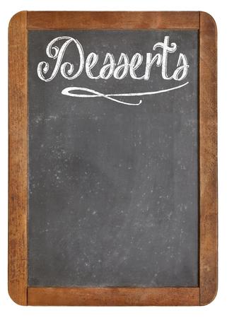 desserts - vintage slate blackboard in wood frame  with white chalk smudges used a restaurant menu Reklamní fotografie