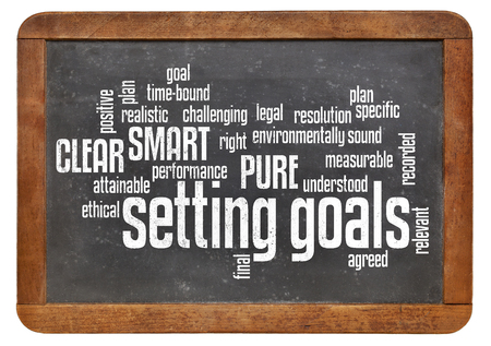 setting goals: cloud of words or tags related to setting goals and SMART, PURE and CLEAR methods on a  vintage slate blackboard isolated on white
