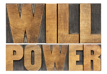 selfcontrol: will power words - isolated text in letterpress wood type