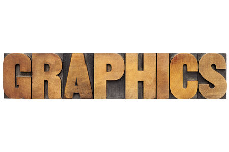 graphics word - isolated text in letterpress wood type Stock Photo - 24024397