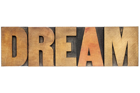 dream word - isolated text in letterpress wood type