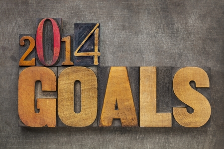 2014 goals - New Year resolution concept - text in vintage letterpress wood type blocks against grunge metal photo