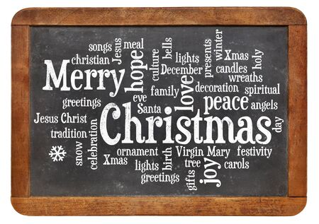 cloud of words or tags related to Christmas on a  vintage slate blackboard photo