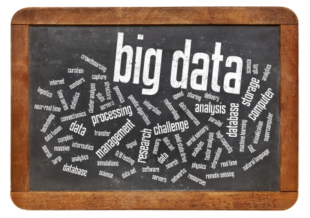 big data: big data word cloud -  information technology concept , collection of data sets so large and complex that it becomes challenging to process using traditional  methods - text on vintage  blackboard Stock Photo