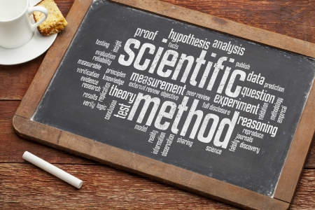 scientific method word cloud on a vintage slate blackboard with a cup of coffee