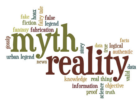 hoax: cloud of words or tags related to myth and reality, fiction and facts